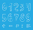 Set Of Numbers On Blue