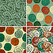 Set Of Seamless Patterns With Abstract Roses,eps 8 Fully Editable Files With Clipping Masks, Patterns In Swatch Menu