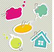 Vector Set Of Speech Bubbles & Scrapbook Elements stock vector