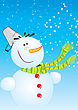 Snowman And Christmas Tree. Winter Postcard For New Year