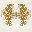 Stylized Butterfly With Detailed Wings On Crumpled Paper Texture, Eps 10, Mesh