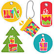 Tags With Gift Box. Set.