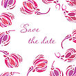Vector Tulip Save The Date Card. Vintage Background With Hand Drawn Tulips For Wedding Design