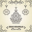 Vintage Christmas Greeting Card With Highly Detailed Fir Tree Balls On Gradient Background And Vintage Floral Frame, Fully Editable Eps 8 File, Standart AI Font stock illustration