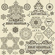 "Vintage Christmas Highly Detailed Design Elements: Fir Tree, Balls, Snowflakes, And Frames, Fully Editable Eps 8 File, Standart AI Fonts ""rosewood Std"", ""eccentric Std"