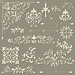 Vintage Floral Design Elements On Gradient Background, Shadown On Separate Level, Fully Editable Eps 8 File