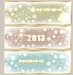 Winter Holiday Banners Withgreetings, Shiny Stars, And Snowflakes, Eps 10 Fully Editable File With Transparency Effects