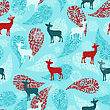 Winter Seamless Pattern With Christmas Decoration, Deers, And Snowflakes, Fully Editable Eps 8 File With Clipping Masks And Seamless Pattern In Swatch Menu