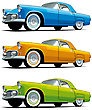 Vectorial Icon Set Of American Old-fashioned Cars