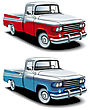 Icon Set Of American Retro Pickups Executed In Two Colour Versions
