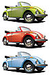 Icon Set Of Old-fashioned Cars (VW Beetle) stock vector