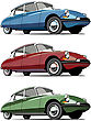 Icon Set Of Old-fashioned French Cars