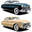 Old-fasioned Big American Car, Executed In Two Colour Versions. Contained Gradients And Blends