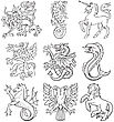 Pictograms Of Most Heraldic Monsters, Executed In Style Of Gravure On Wood.