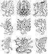 Pictograms Of Most Heraldic Monsters, Executed In Style Of Gravure On Wood