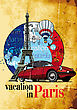 "Round Vignette On Theme Of French And Paris With Inscription ""Vacation In Paris"" On Background French Symbolism And Eifel Tower (Tour D'Eiffel)"