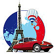 Vectorial Round Vignette On Theme Of French And Paris On Background French Symbolism And Eifel Tower (Tour D'Eiffel), Executed In National Color Of French