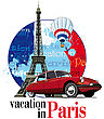 "Vectorial Round Vignette On Theme Of French And Paris With Inscription ""Vacation In Paris"" On Background French Symbolism And Eifel Tower (Tour D'Eiffel), Executed In National Color Of French"