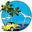 Round Vignette With Yellow Old-fashioned Pickup And Two Palms On Sky And Sea Background
