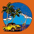 Vectorial Round Vignette With Yellow Old-fashioned Pickup And Two Palms On Sky And Sea Background. Image Is One Curve