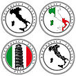 Vectorial Set Of Postal Stamp On Theme Of Italia, Executed In Italian National Color. stock illustration