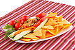 Vegetables, Olives, Nachos In Plate On Colorful Tablecloth