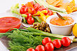 Vegetables, Olives, Nachos, Red And Cheese Sause Image stock photography