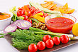 Vegetables, Olives, Nachos, Red And Cheese Sause Image