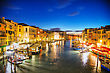 Venice At Night Time As Seen From Rialto Bridge stock image