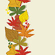 Vertical Seamless Border With Autumn Leaves Background