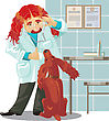 Veterinarian Clinic, Doctor And Spaniel stock vector
