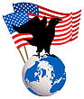 Victory Icon Of An American Eagle With USA Flag And Globe stock illustration