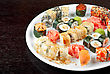 View Of Closeup Japanese Sushi Set At Plate stock photography