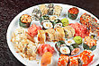 View Of Closeup Japanese Sushi Set At Plate stock photo