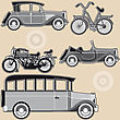 Vintage Abstract Modes Of Transport On A Beige Background stock image