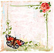 Picturesque Vintage Background With Red Roses, Ivy And Butterfly stock illustration