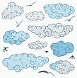 Vintage Clouds Set. Hand Drawn Vector Illustration. Design Element stock vector