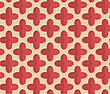 Vintage Colored Simple Seamless Pattern. Background With Paper Fold And 3d Realistic Shadow.Retro Fold Red Four Pedal Flowers
