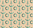 Vintage Colored Simple Seamless Pattern. Background With Paper Fold And 3d Realistic Shadow.Retro Fold Sea Green Anchors