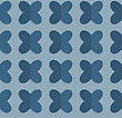 Vintage Colored Simple Seamless Pattern. Background With Paper Fold And 3d Realistic Shadow.Retro Fold Blue Four Pedal Flowers On Waves