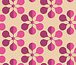 Vintage Colored Simple Seamless Pattern. Background With Paper Fold And 3d Realistic Shadow.Retro Fold Purple Six Pedal Flowers