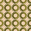 Vintage Colored Simple Seamless Pattern. Background With Paper Fold And 3d Realistic Shadow.Retro Fold Green Gears