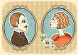 Vintage Gentleman And Woman Face Portraits In Frames.