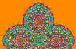 Vintage Half Of Mandala In Green Tones On Orange Color With Place For Your Text. Eps10