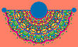 Vintage Half Of Mandala On Orange-red Color With Place For Your Text. Eps10