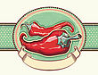 Vintage Label With Red Hot Peppers.Vector Illustration For Design