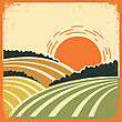 Vintage Landscape With Fields On Old Papertexture.Vector Color Poster