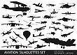 Vintage And Modern Aircraft Silhouettes Collection. Vector On Separate Layers