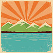 Vintage Mountains Horizon.Vector Color Poster On Old Paper