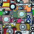 Vintage Multicolor Photo Cameras Pattern